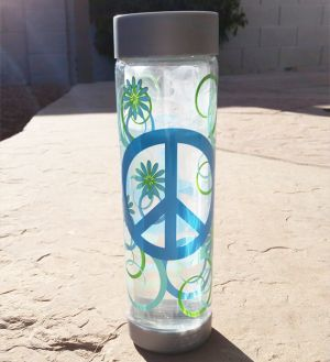 Glasstic Worry Free Glass Water Bottle - Peace Design 16oz