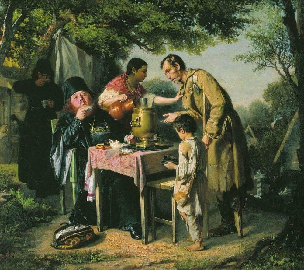 A Tea Party in Mytishchi. Vasily Perov, 1862