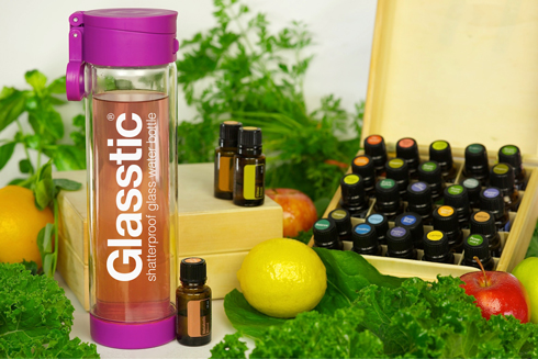 Essential Oils with the Glasstic Shatterproof Glass Water Bottle