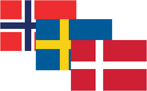 Denmark, Sweden, Norway Flags